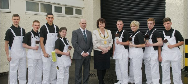 Lord Provost of Glasgow, Sadie Docherty with MD Mark Johnston and some of the company's apprentices