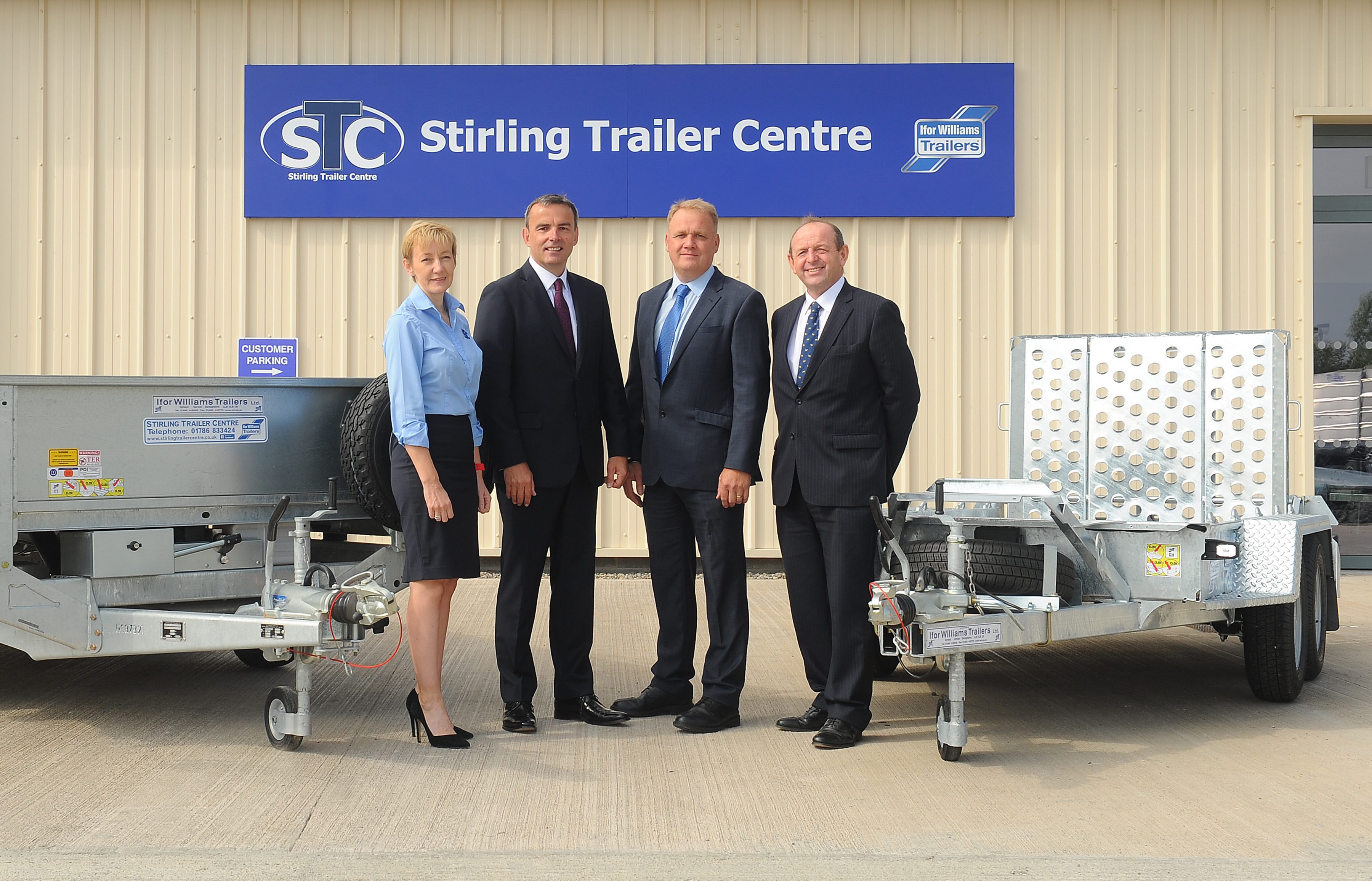 (l-r) Jayne Gray, co-owner of Stirling Trailer Centre: Neil McLean, Chairman of United Auctions, Robin Gray, co-owner of Stirling Trailer Centre and George Purves, Managing Director of United Auctions.